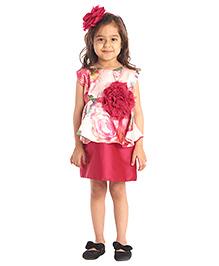 Kidology English Rose Peplum Dress - Fuschia