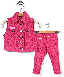Animal Printed Top & Bottom Set - Pink