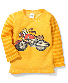 Babyhug Full Sleeves Fleece T-Shirt Bike Print - Yellow