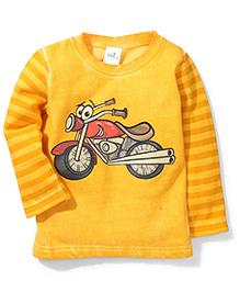 Babyhug Full Sleeves Fleece T-Shirt Bike Print - Yellow