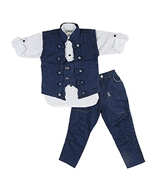 Kishore Dresses Shirt, Waistcoat and Jeans - White Blue