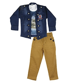 Kishore Dresses T-Shirt, Jacket and Pant Set - Blue Beige