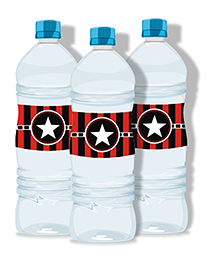 Prettyurparty Hollywood Water Bottle Labels- Black And Red