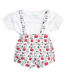 Chic Bambino Dungaree With Tee - White & Red