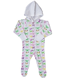Earth Conscious Hooded Footed Organic Cotton Romper - White