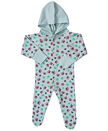 Earth Conscious Footed Organic Cotton Romper Paw Print - Blue