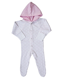 Earth Conscious Hooded Footed Organic Cotton Romper - White Pink