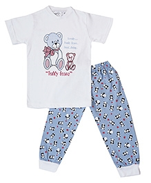 Earth Conscious Organic Cotton T-Shirt And Leggings Teddy Bear Print - White Blue