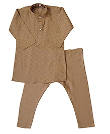 Earth Conscious Organic Cotton Kurta Pajama Set - Light Brown