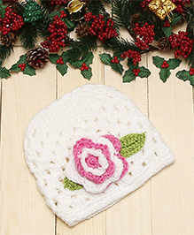 Dchica Knitted Flower Cap - Off White