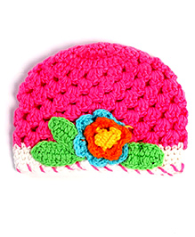 Dchica Floral Knitted Cap - Pink