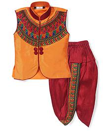 Babyhug Sleeveless Kurta And Dhoti Set Embroidery - Golden Red