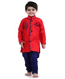 Babyhug Full Sleeves Kurta And Jodhpuri Breeches Bead Detailing - Red Blue