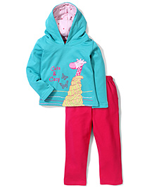 Kanvin Hooded Cute & Cozy Printed Jacket And Pant Set - Green & Fuchsia Pink