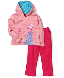 Kanvin Hooded Cute & Cozy Printed Jacket And Pant Set - Peach & Fuchsia Pink