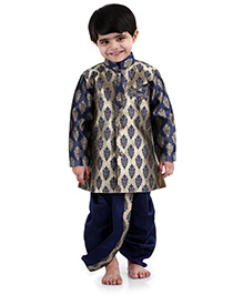 Babyhug Full Sleeves Kurta And Dhoti Set Self Design - Blue
