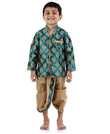 Babyhug Full Sleeves Kurta And Dhoti Self Design - Sea Green Cream