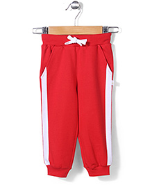 Babyhug Full Length Track Pant With Drawstring - Red