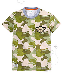flight deck by babyhug half sleeves t shirt camouflage print blue cream bes. Black Bedroom Furniture Sets. Home Design Ideas