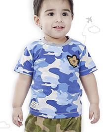 Flight Deck by Babyhug Half Sleeves T-Shirt Camouflage Print - Blue Cream