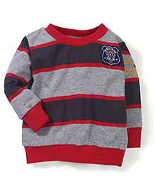 Palm Tree Full Sleeves Striped Sweat Shirts - Red Grey