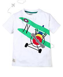 Flight Deck by Babyhug Half Sleeves T-Shirt Jet Plane Print - White
