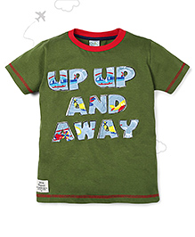 Flight Deck by Babyhug Half Sleeves T-Shirt Up and Away Print - Green