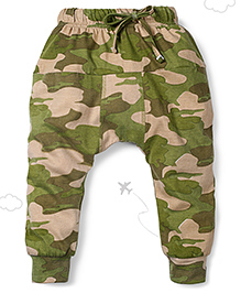 Flight Deck by Babyhug Parachute Pants Camouflage Print - Green and Cream