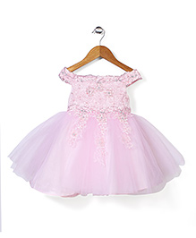 Party Princess Net embroider Dress With Sequence - Pink
