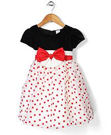 Party Princess Velvet Dress With Polka Dot - Black & Red