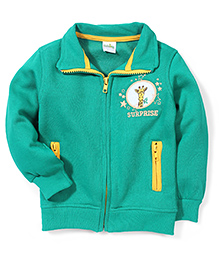 Babyhug Collared Sweat Jacket - Green