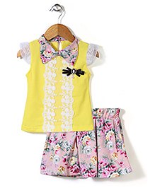 Party Princess Floral Top & Skirt - Yellow & Pink