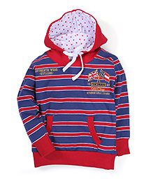 Gini & Jony Hooded Striped Sweatshirt - Red And Blue