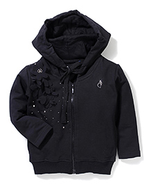 Gini & Jony Hooded Jacket Floral Applique - Black