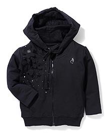 Gini & Jony Hooded Jacket Floral Applique - Black