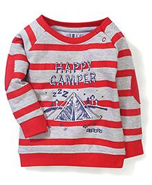 Gini & Jony Full Sleeves Sweat T-Shirt Happy Camper Print - Red