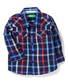 Palm Tree Full Sleeves Check Shirt - Navy Blue
