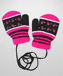 Model Hand Gloves With String - Fuchsia & Black