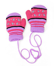 Model Hand Gloves With String - Purple & Pink