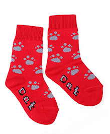 Model Cat Paws Print Socks - Red
