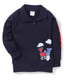 Babyhug Collared Sweat Jacket With Train Print - Navy Blue