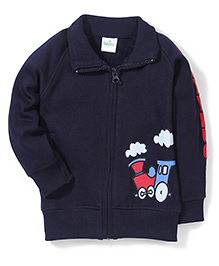 Babyhug Collared Sweat Jacket With Train Print - Navy Blue