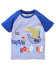 Babyhug Half Sleeves T-Shirt Captain Crocodile Print - Grey Blue