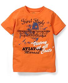 Babyhug Half Sleeves T-Shirt Printed - Orange