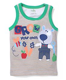 Babyhug Sleeveless T-Shirt Grow Your Own Print - Brown and Green