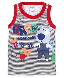 Babyhug Sleeveless T-Shirt Grow Your Own Print - Grey and Red