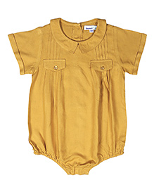 ShopperTree Half Sleeves Romper - Yellow