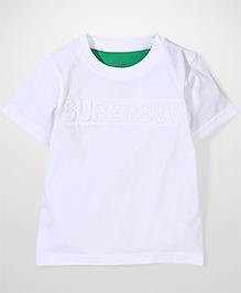 Babyhug Half Sleeves T-Shirt Superboy Patch - White