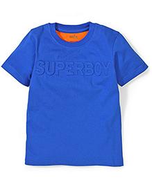 Babyhug Half Sleeves T-Shirt Superboy Patch - Blue