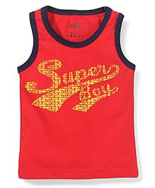 Babyhug Contrast Neckline Vest Super Print - Red